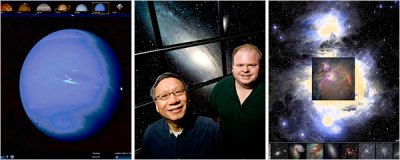 Neptuno, a la izquierda, en WorldWideTelescope.org. Curtis Wong y Jonathan Fay de Microsoft al centro, y la Nebulosa de Orión en Google Sky.